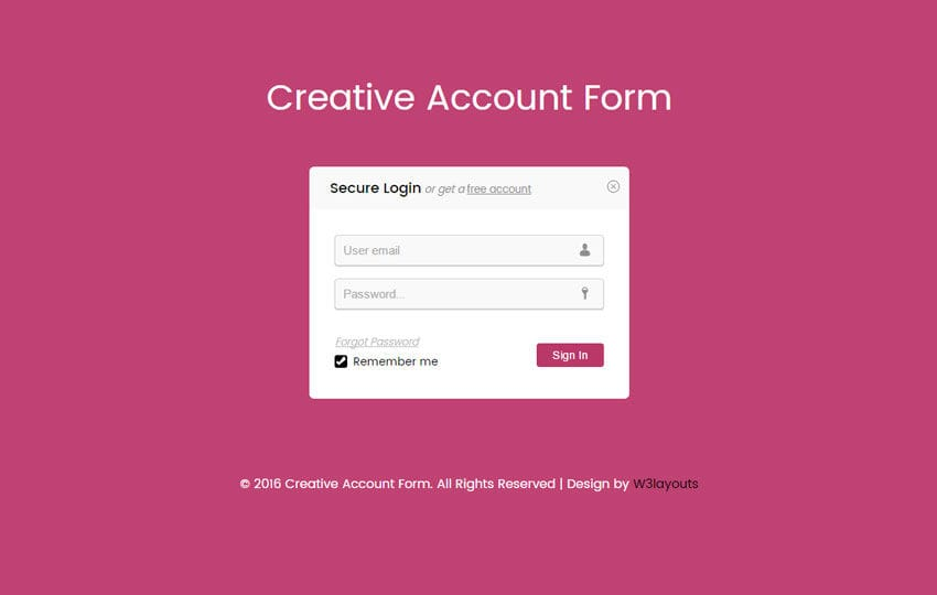 Creative Account Form Responsive Widget Template w3layouts – Account Form Template