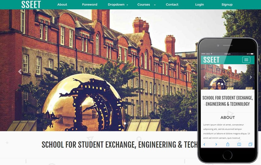 Exchange Education a Education category Responsive Web Template Mobile website template Free
