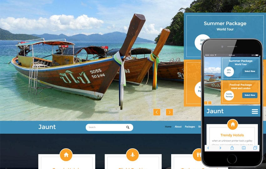 Jaunt  A Travel  Flat Bootstrap Responsive  Web Template Mobile website template Free