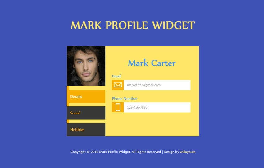 Mark Profile Responsive Widget Template Mobile website template Free