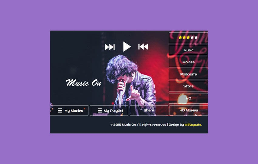 Music On Flat Responsive Widget Template Mobile website template Free