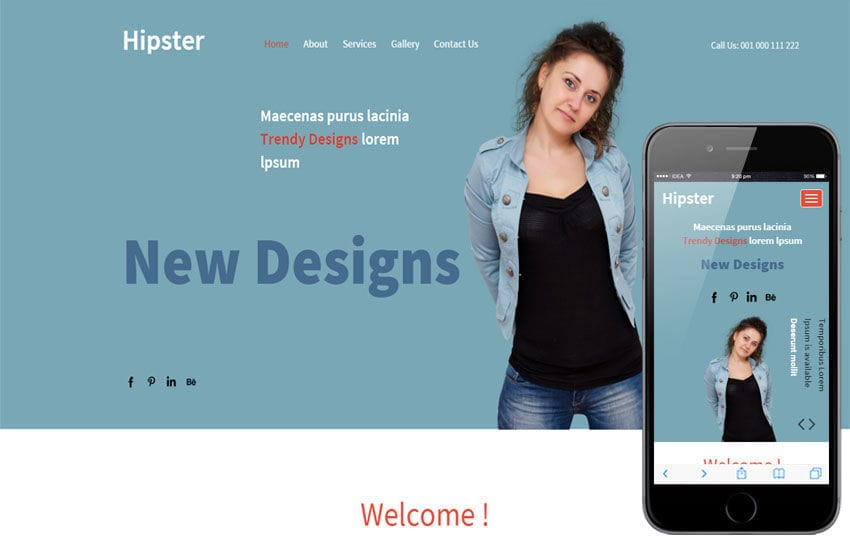 Hipster a Fashion Category Responsive Web Template Mobile website template Free
