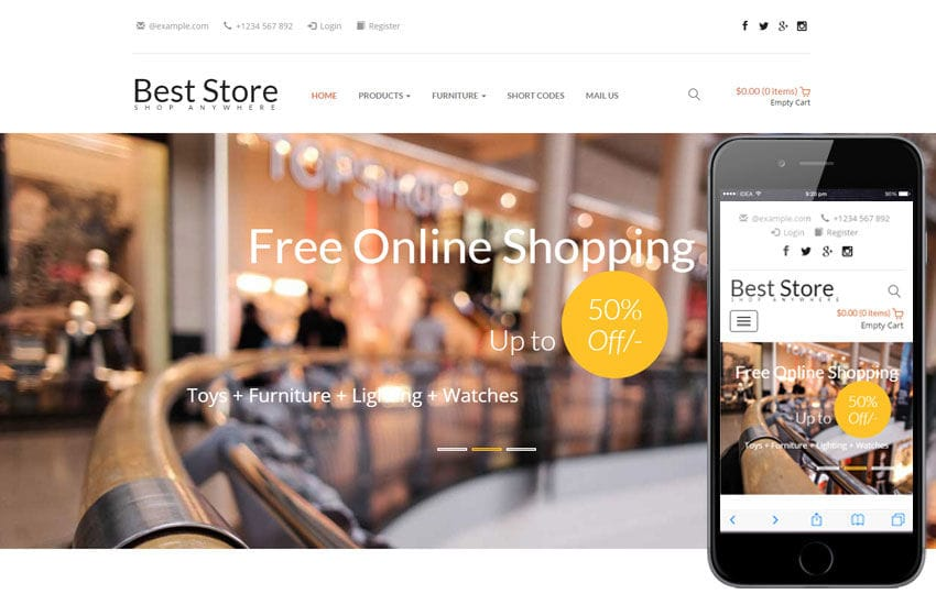 Best Store A E Commerce Category Responsive Web Template - Create web page template