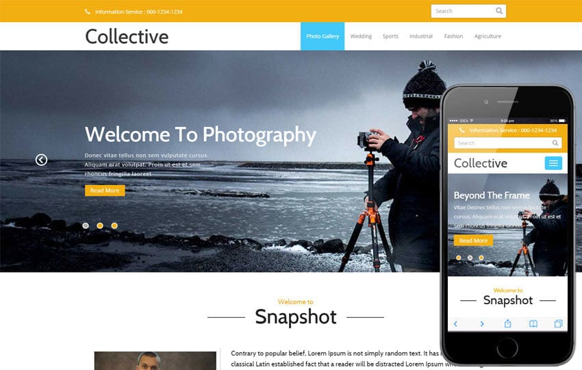 Collective A Multipurpose Flat Bootstrap Responsive Web Template - Free html photography website templates
