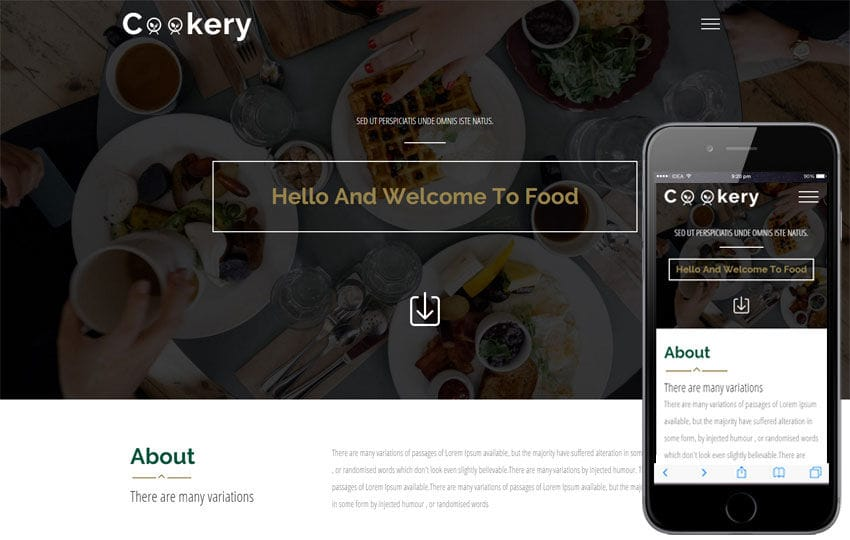 Cookery A Food Category Flat Bootstrap Responsive Web Template Mobile website template Free