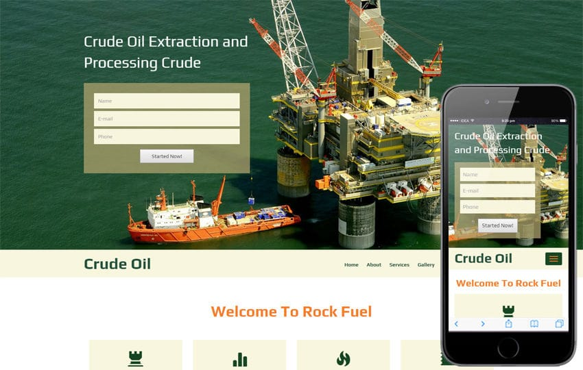 Crude Oil  A Industrial  Flat bootstrap Responsive web Template Mobile website template Free