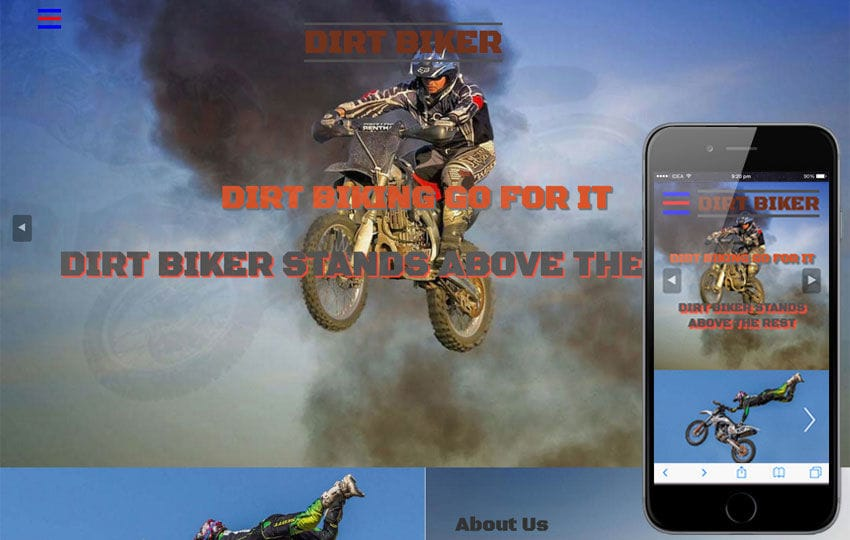 Dirt Biker Sports Category Flat Bootstrap Responsive  Web Template Mobile website template Free