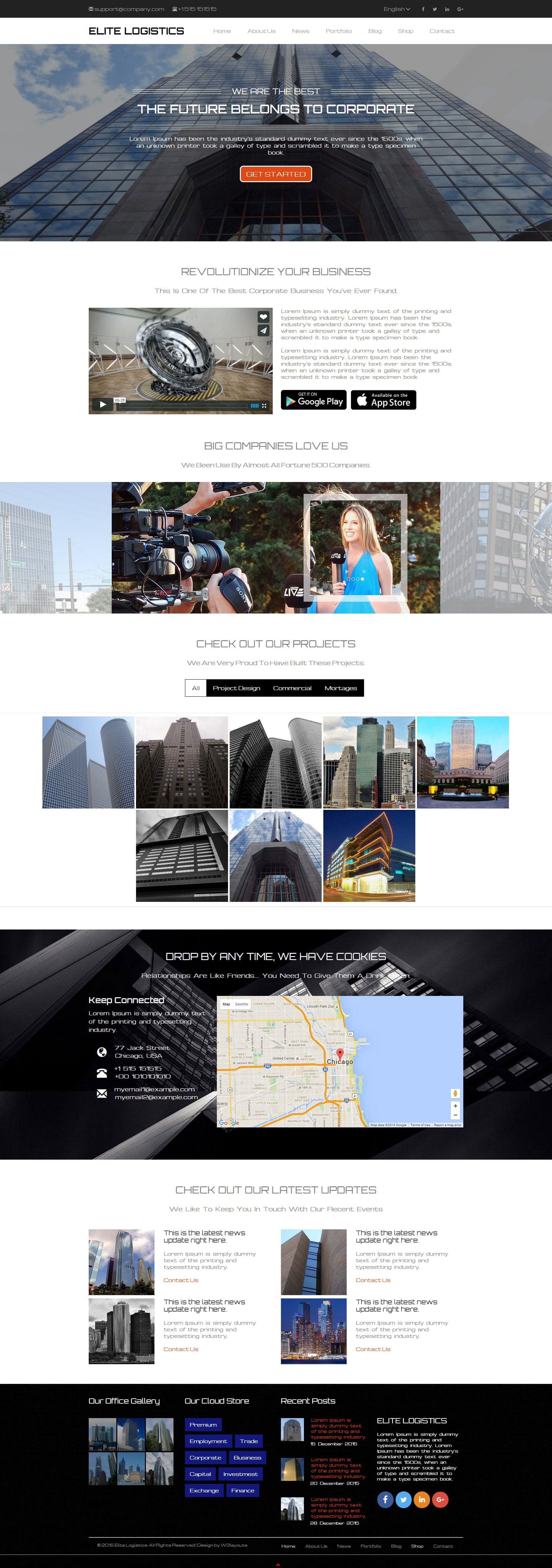 Elite Logistics a Corporate Category Responsive Web Template ...