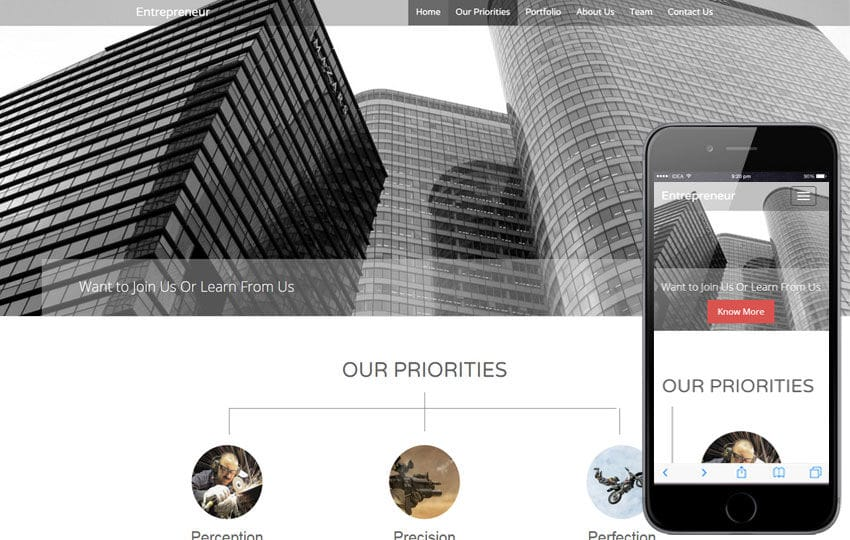 Entrepreneur a Corporate Business Flat Bootstrap Responsive Web Template Mobile website template Free