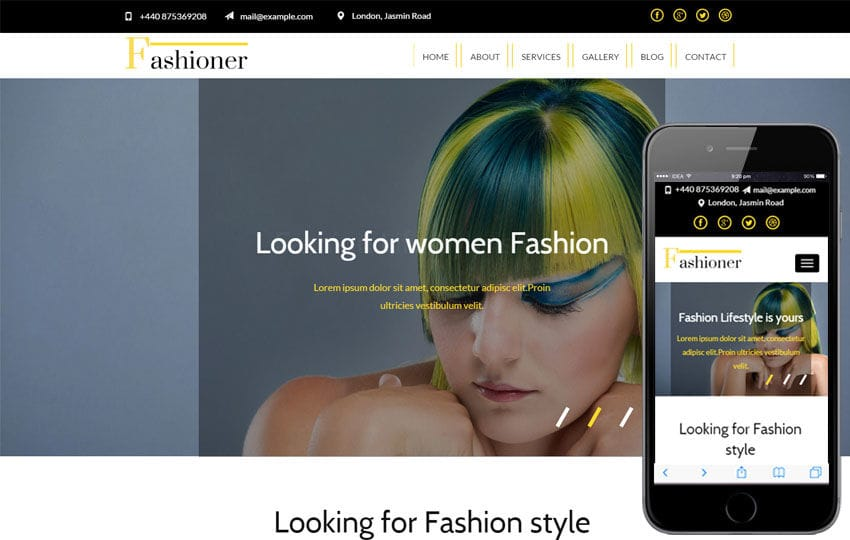 Fashioner a Fashion Category Responsive Web Template Mobile website template Free