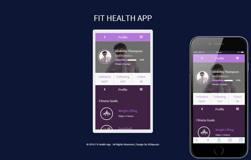 Fit Health App A Mobile App Responsive Web Template - Mobile app design templates