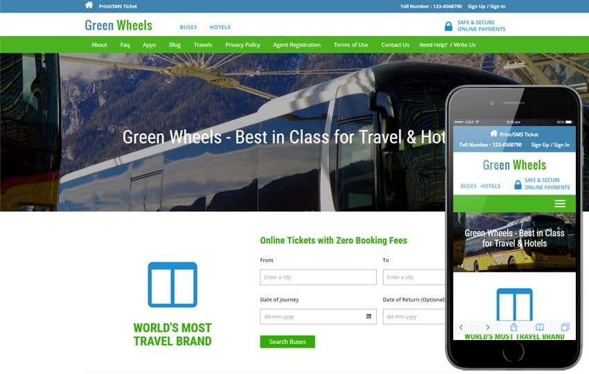Green Wheels a Travel Category Responsive Web Template Mobile website template Free
