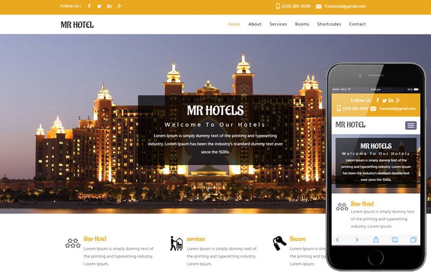 MR Hotel a Hotel Category Flat Bootstrap Responsive  Web Template Mobile website template Free