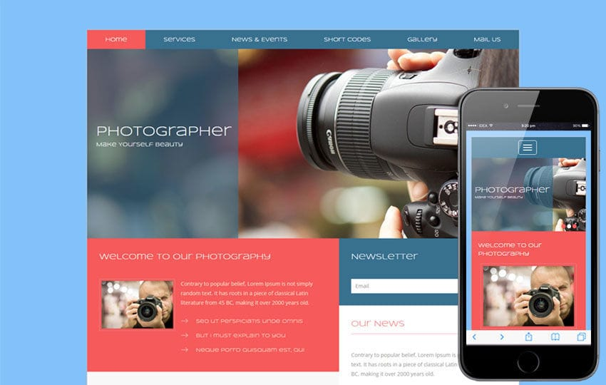 Photographer A Photo Gallery Flat Bootstrap Responsive Web Template - Free photography website templates