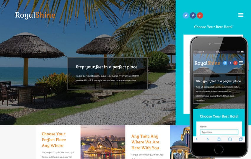 Royal Shine a Hotel Category Bootstrap Responsive Web Template Mobile website template Free