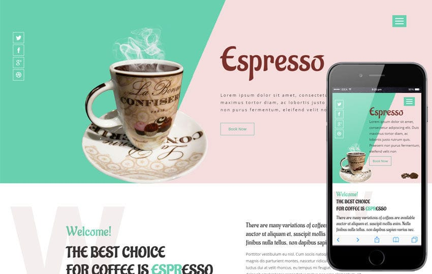 Espresso a Restaurant Category Flat Bootstrap Responsive web Template Mobile website template Free