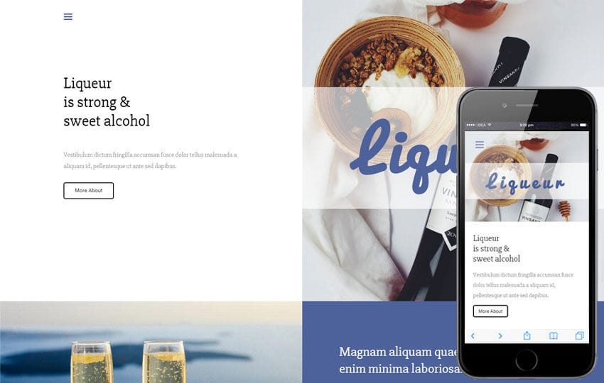 Liqueur a Hotel Category Responsive web Template Mobile website template Free