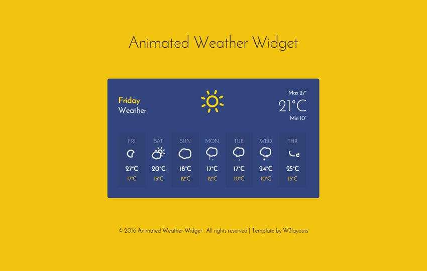 Animated Weather Widget Responsive Template