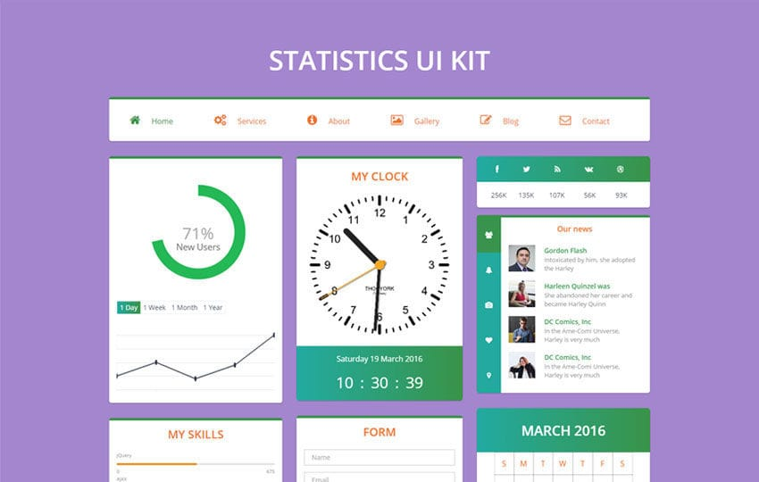 Statistics UI Kit Flat Bootstrap Responsive Web Template Mobile website template Free