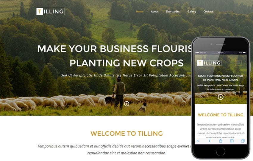 Tilling a Agriculture Category Responsive Web Template Mobile website template Free