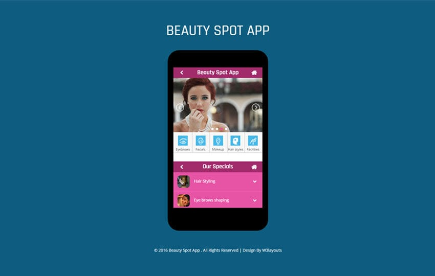 Beauty Spot A Mobile App Flat Bootstrap Responsive Web Template Mobile website template Free