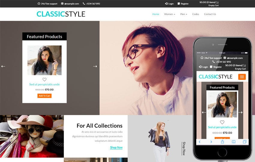 Classic Style a E commerce Flat Bootstrap Responsive Web Template Mobile website template Free