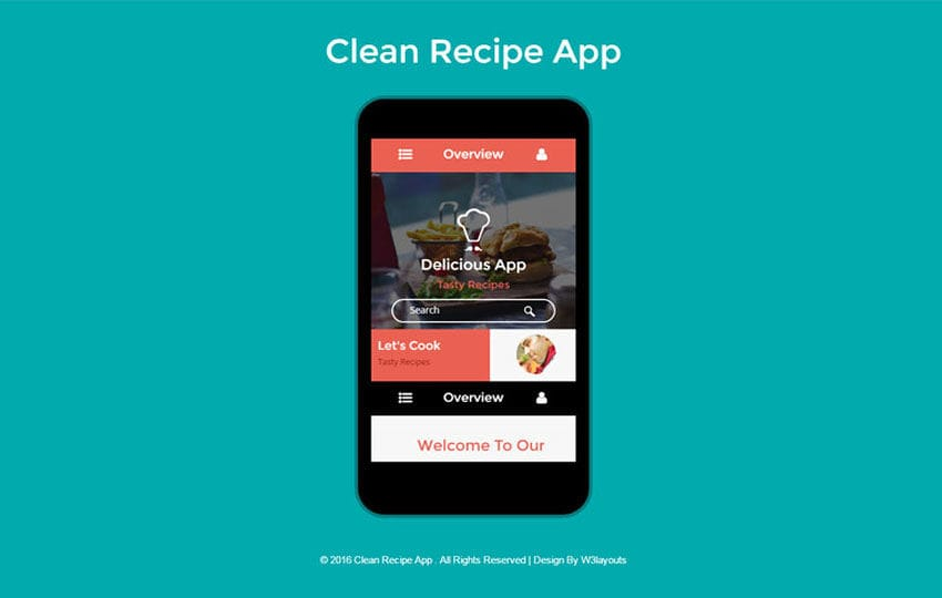 Clean Recipe A Mobile App Flat Bootstrap Responsive Web Template - Mobile app design templates