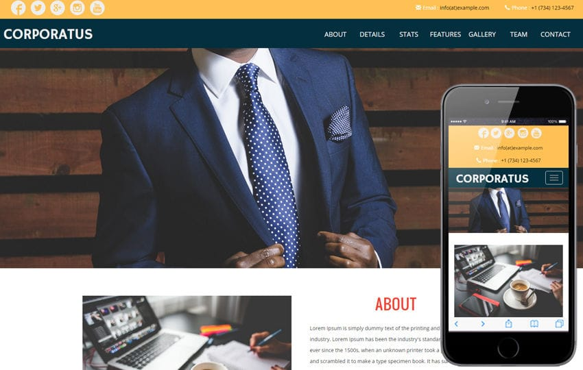 Corporatus a Corporate Category Flat Bootstrap Responsive Web Template Mobile website template Free