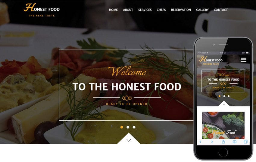 Honest Food a Hotel Category Flat Bootstrap Responsive Web Template Mobile website template Free