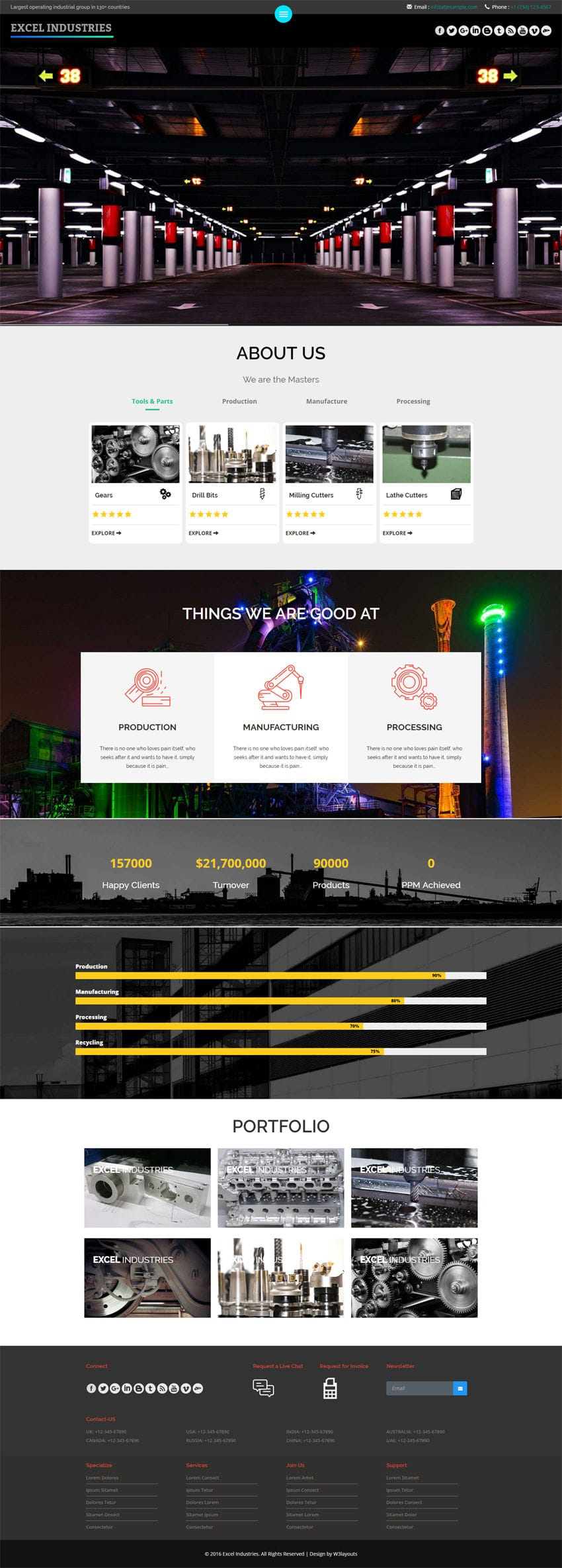 Excel Industries a Industrial Flat Bootstrap Responsive