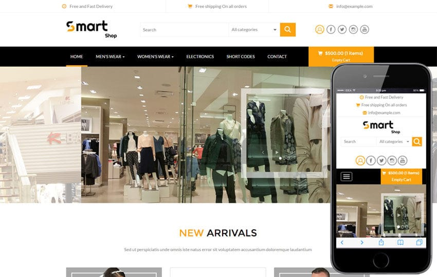 Smart shop a e commerce flat bootstrap responsive web template for Homepage shop
