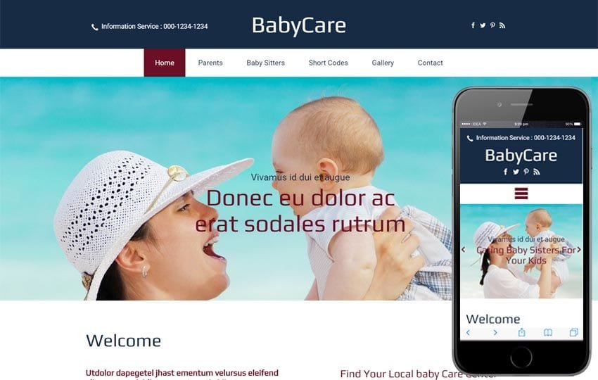 Baby Care a Society and People Bootstrap responsive Web Template Mobile website template Free