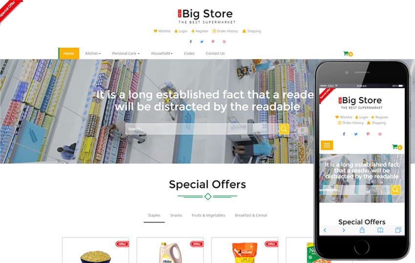 Big store an e-commerce online shopping bootstrap responsive web.