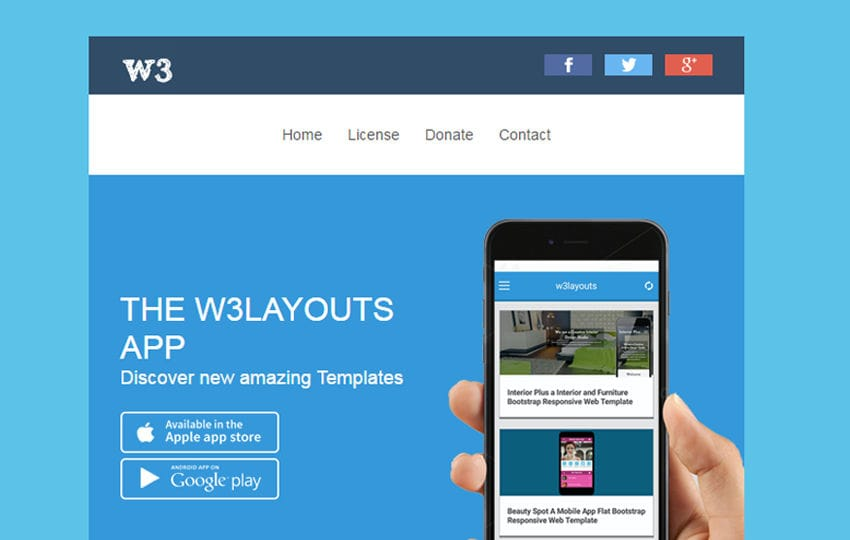 Introducing W3layouts app Newsletter Email Template Mobile website template Free