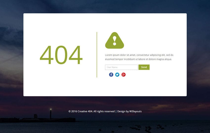 creative 404 responsive error widget template