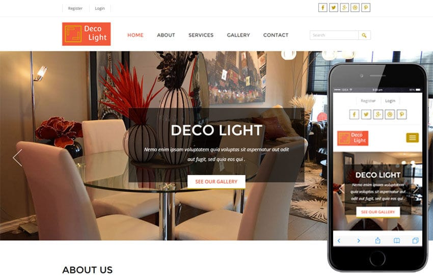 Deco Light Interior Architects Category Flat Bootstrap Responsive Web Template Mobile website template Free