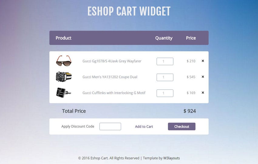 E Shop Cart Widget A Flat Responsive Widget Template - Responsive shopping cart template