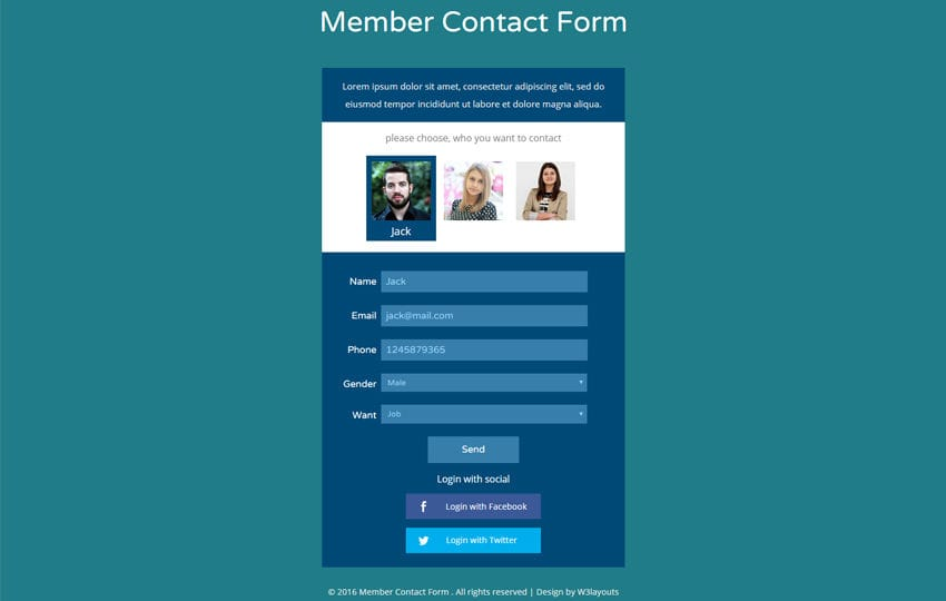 Member Contact Form Flat Responsive Widget Template - Membership website templates free