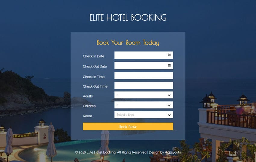 Elite hotel booking widget flat responsive widget template for The hotel reservation