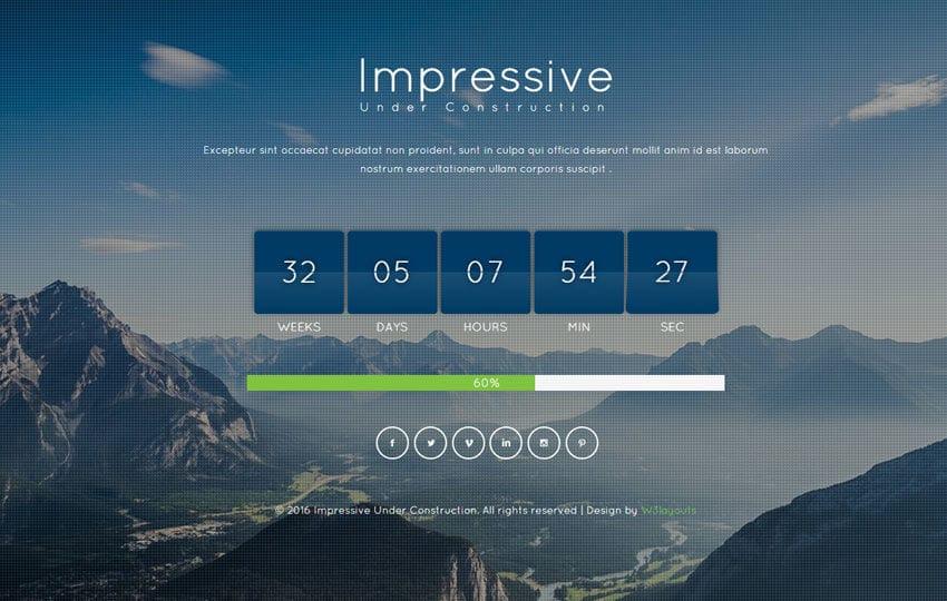 Impressive Under Construction Flat Responsive Widget Template Mobile website template Free