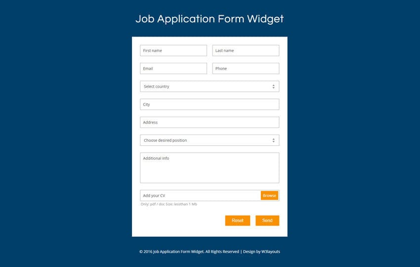Application Form - W3Layouts.Com
