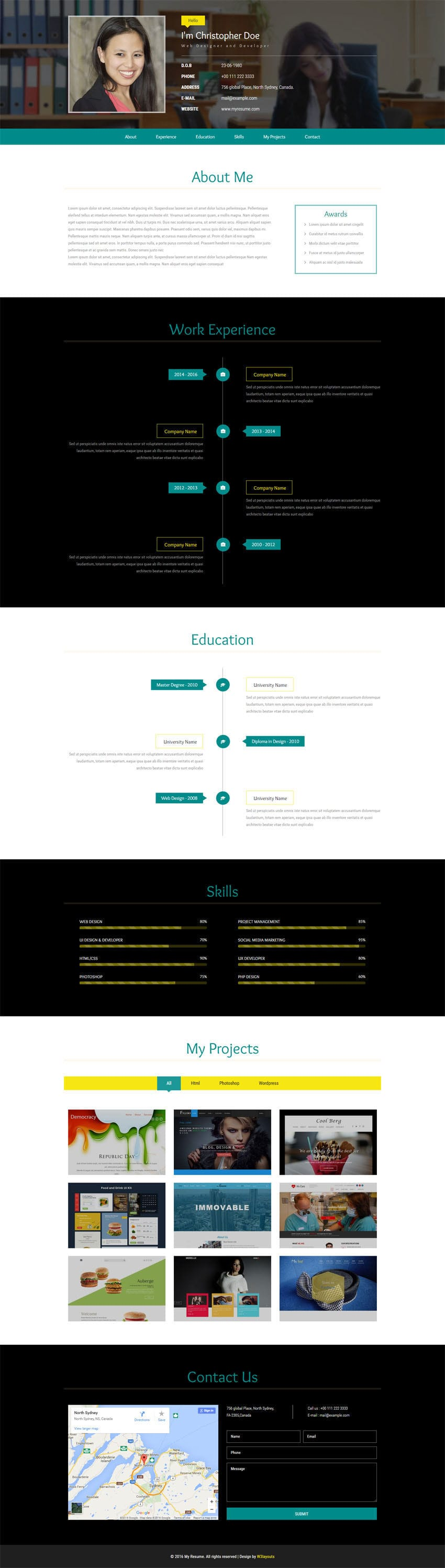 My Resume a Personal Category Flat Bootstrap Responsive Web Template