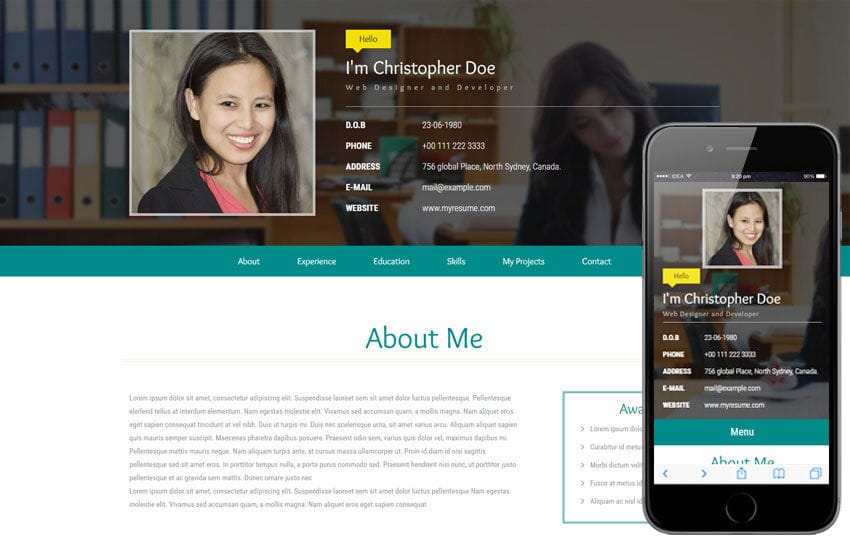 My Resume a Personal Category Flat Bootstrap Responsive Web Template Mobile website template Free