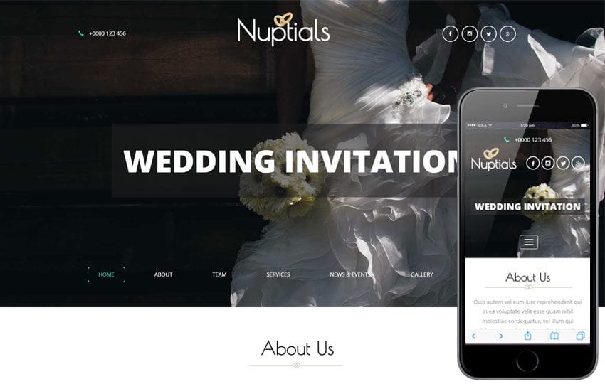 Nuptials a Wedding Category Flat Bootstrap Responsive Web Template Mobile website template Free
