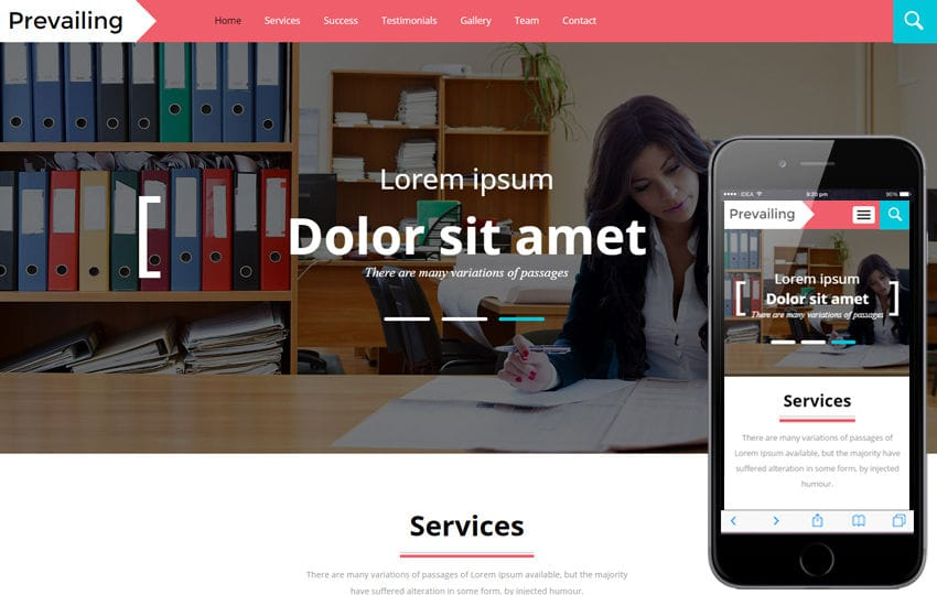 Prevailing A Corporate Category Flat Bootstrap Responsive Web Template Mobile website template Free
