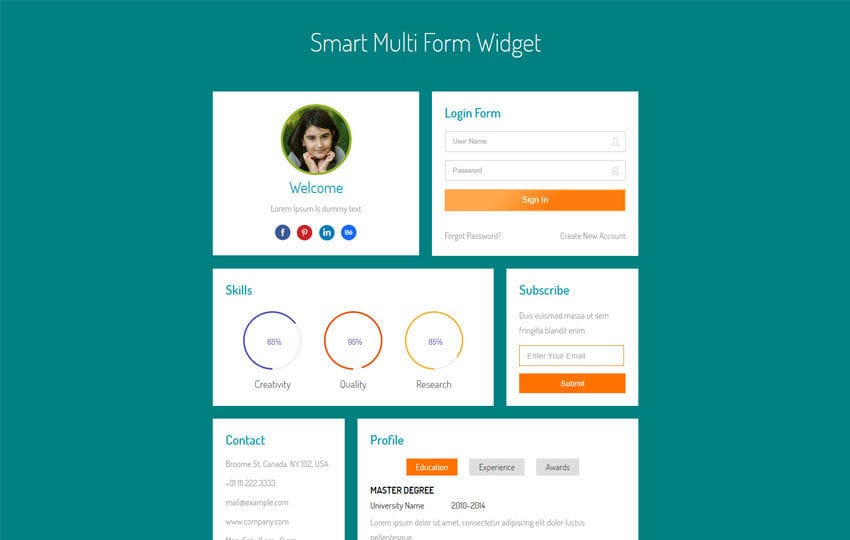 Smart multi form widget flat responsive widget template for Mobile site template free download