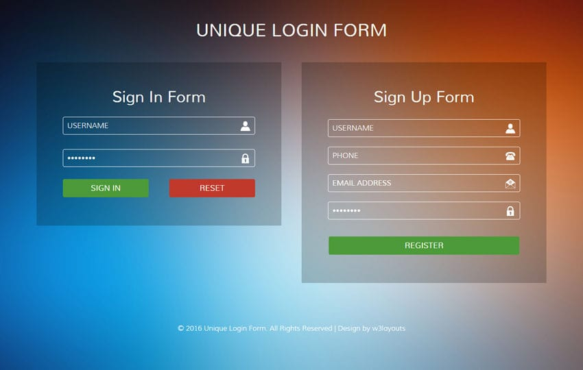 Student login form responsive widget template by w3layouts for Jquery mobile login template