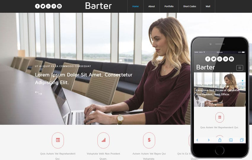 Barter a Corporate Category Flat Bootstrap Responsive Web Template Mobile website template Free