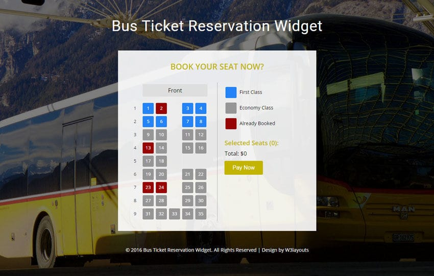 Bus ticket reservation widget flat responsive widget template for Aspx login page template