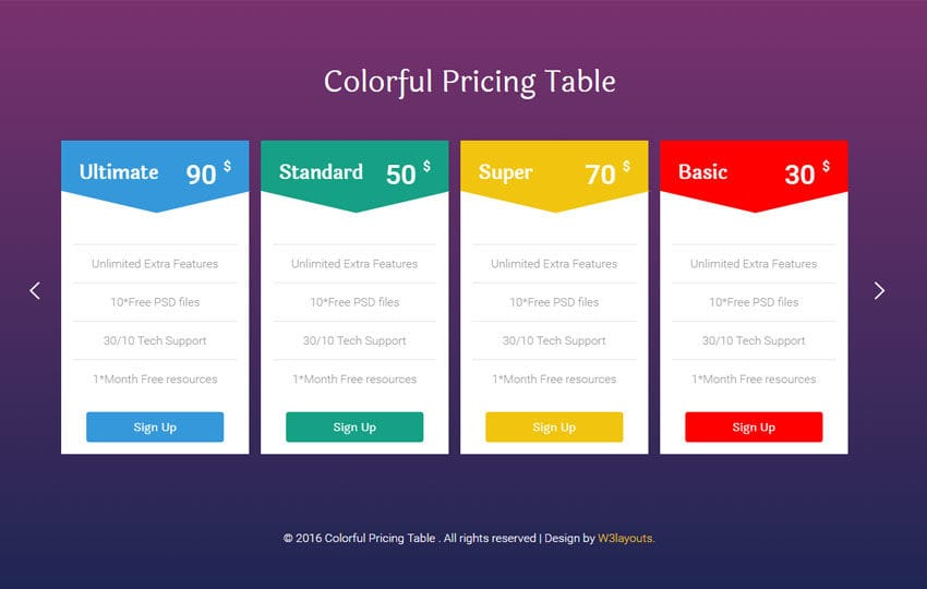 Colorful Pricing Table Flat Responsive Widget Template